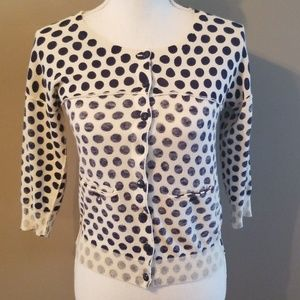 Navy and off White polka dot cardigan